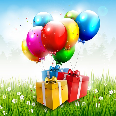 Realistic colorful birthday background  Vector