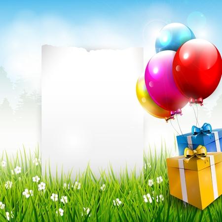 globos de cumpleaños: Realista cumpleaños fondo colorido con el lugar para el texto