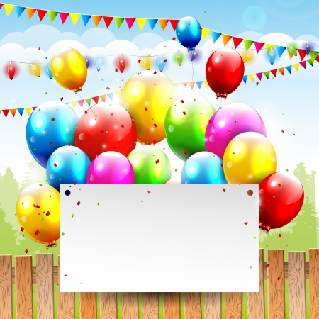 confetti background: Colorful Birthday background with balloons and place for text