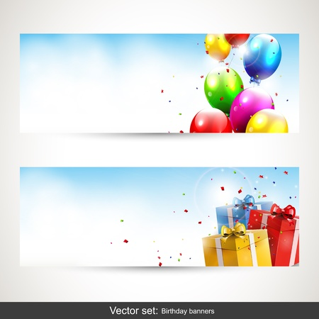 Birthday horizontal banners - vector set Vector