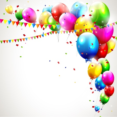 red balloons: Modern colorful birthday background