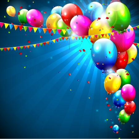 happy kids playing: Colorful birthday balloons on blue background