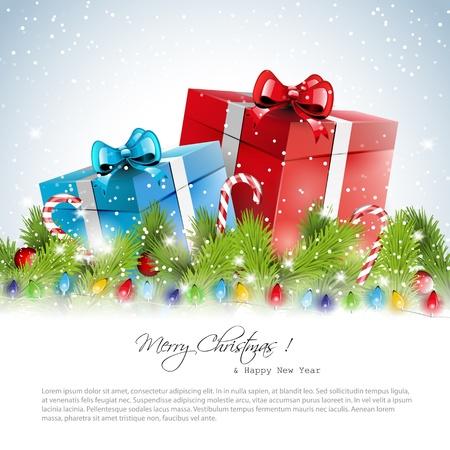 snowy background: Navidad cubierto de nieve de fondo con lugar para el texto