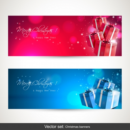 gloss banner: Christmas banners - vector set