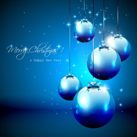 Luxury blue Christmas background with baubles Stock Vector - 17506808