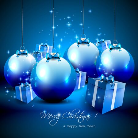sylvester: Elegant blue Christmas background with baubles and gifts  Illustration