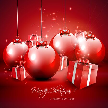 Elegant red Christmas background with baubles and gifts  Vector