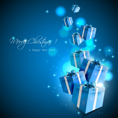 blue gift box: Christmas gifts - vector background