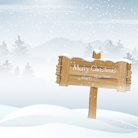 winter card: Wooden sign in a winter landscape