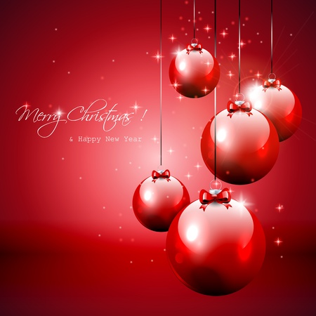christmas backdrop: Luxury red Christmas background with baubles