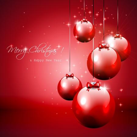 Rojo de lujo de fondo de Navidad con adornos