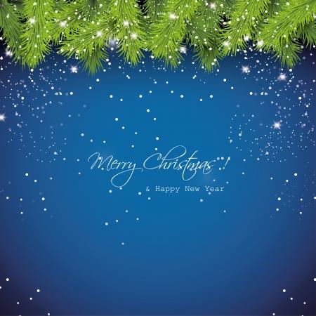 snowy background: Navidad azul de fondo cubierto de nieve