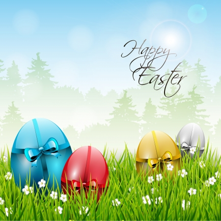 Easter background with colorful eggs Stock Vector - 17544740