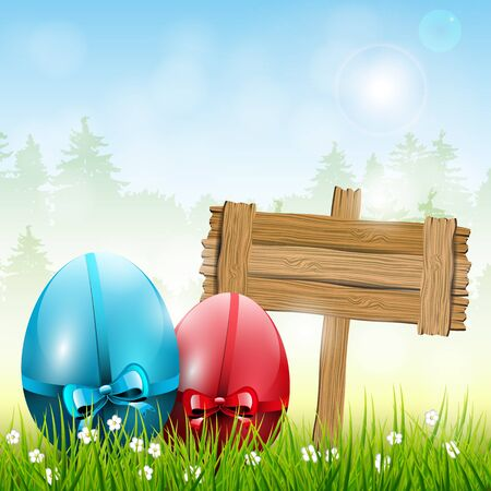 Easter background with wooden sign Vector
