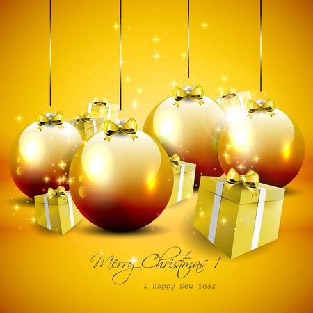 gold christmas background: Luxury gold Christmas background Illustration