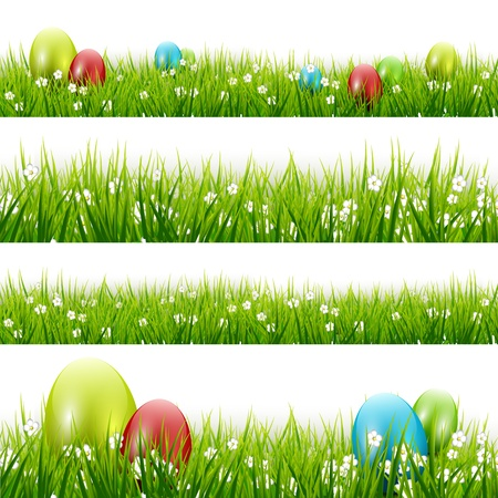 grass close up: Grass with eggs - vector set