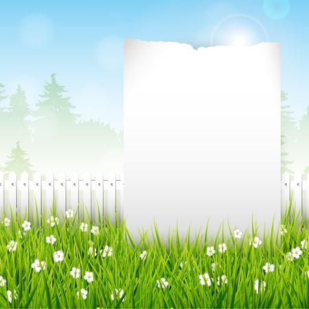 prato e cielo: Primavera vettore sfondo con il posto per il testo