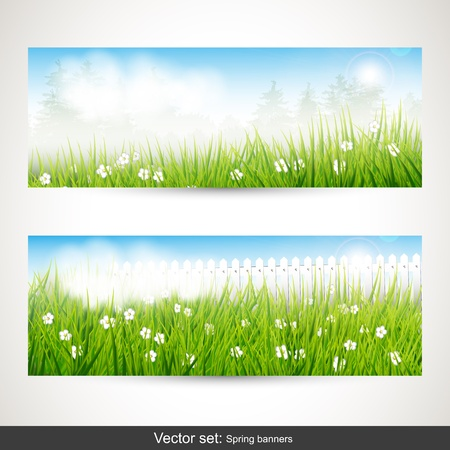 Spring horizontal banners - vector set Stock Vector - 17544761