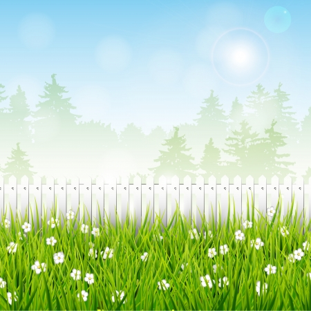 garden fence: Spring landscape with white fence