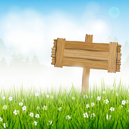 Spring landscape with wooden sign Stock Vector - 17544760