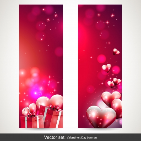 Valentine s Day vertical banners - vector set