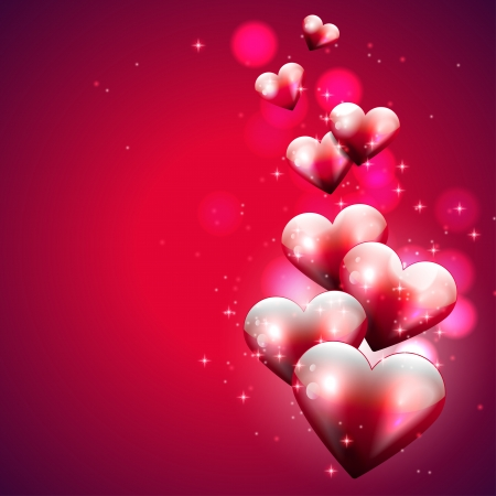 Flying hearts on red background  Vector