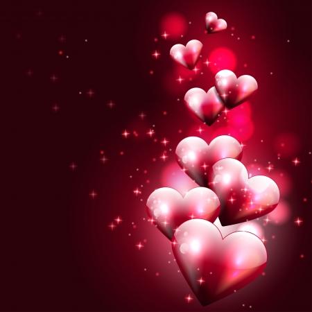Flying hearts on dark background  Иллюстрация