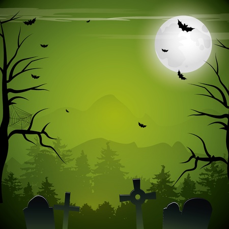 Green Halloween background Vector