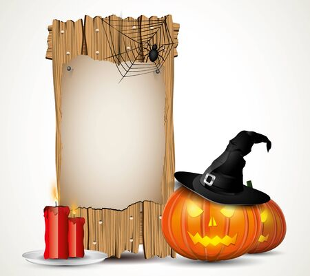 Halloween background with wooden sign Vector