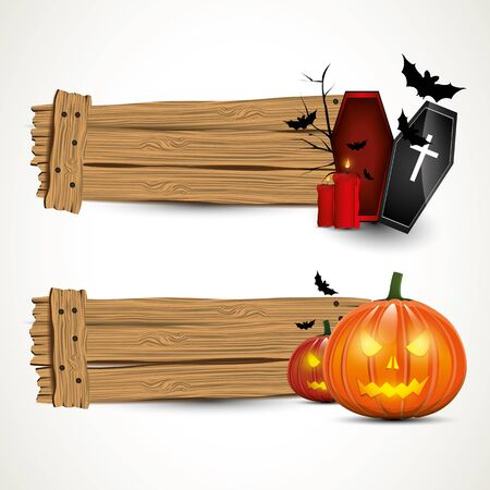 Halloween horizontal wooden banners Vector