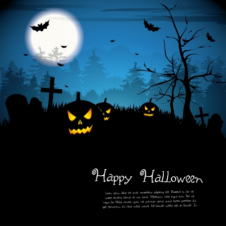 place for text: Halloween night with pumpkins - background with place for text Illustration