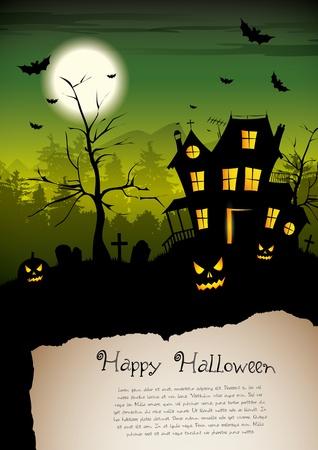 halloween poster: Casa spaventosa - poster di Halloween con il posto per il testo Vettoriali