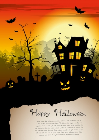 Scary house - Halloween poster with place for text Vector