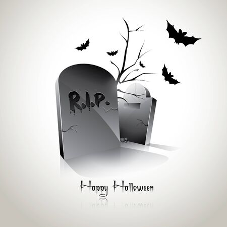 Modern Halloween background with gravestones and bats