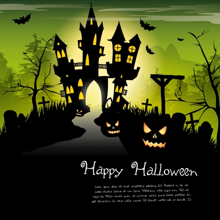 Creepy castle - halloween background with place for text Vector