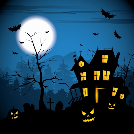 gallows: Scary house - Halloween background
