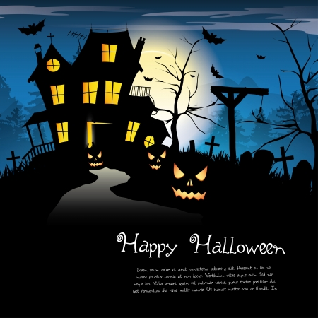 gallows: Scary house - Halloween background with place for text