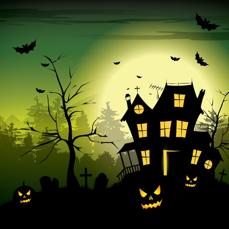 halloween bats: Scary house - Halloween background