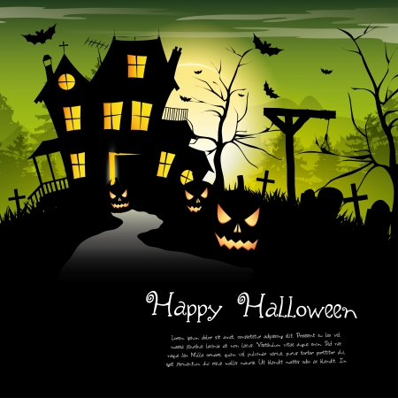 Scary house - Halloween background with place for text Stock Vector - 17676028