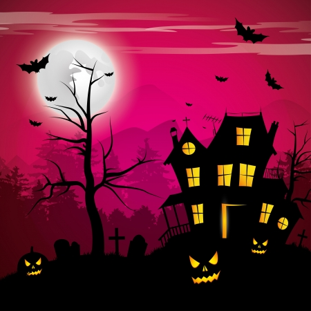 dark background: Scary house - Halloween background