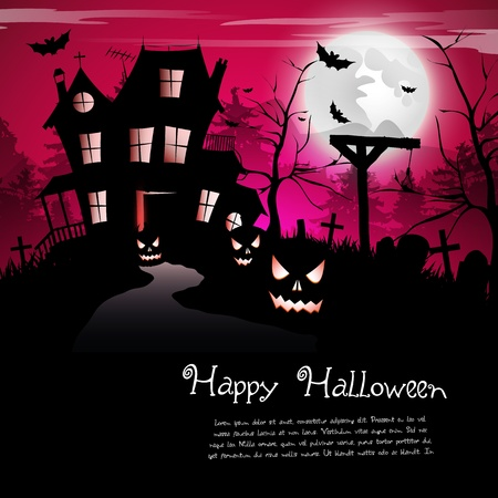 Scary house - Halloween background Vector