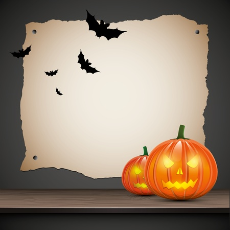Halloween background with pumpkins and place for your text Vector