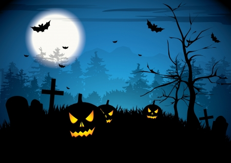 Halloween night with pumpkins on graveyard Stock Vector - 17676045