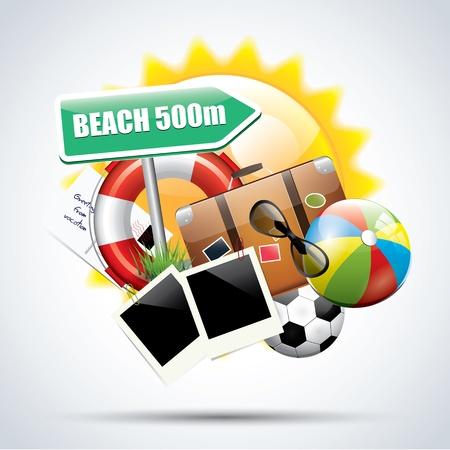 Summer glossy poster Stock Vector - 17676075