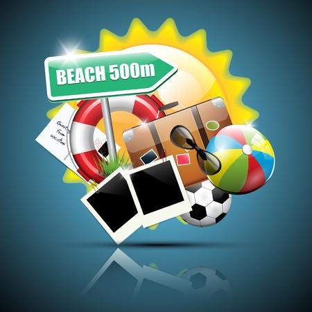 Summer glossy poster Stock Vector - 17676077