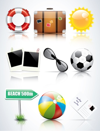 Set of glossy summer icons Vector