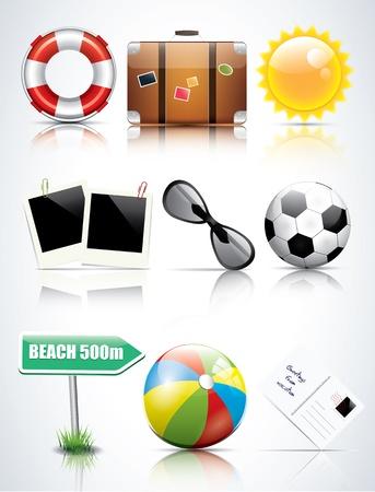 summer holidays: Set of glossy summer icons
