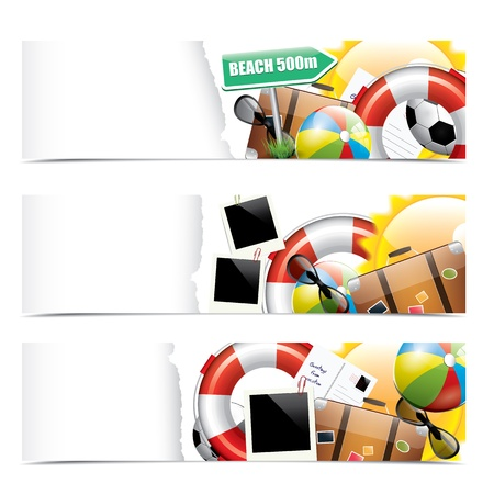 suitcase: Set of summer vacation banners