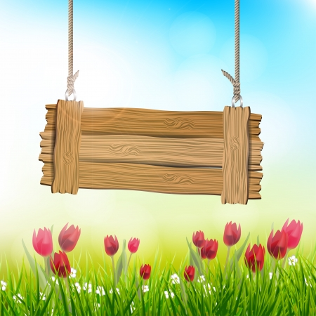 wooden sign: Spring background with tulips and wooden sign