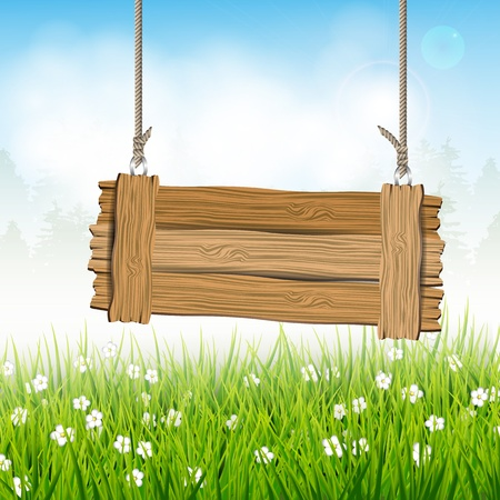 Spring landscape with wooden sign Stock Vector - 17676072